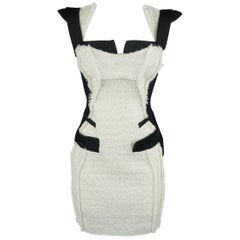 ANTONIO BERARDI Size 6 Black & White Tweed Panel Color Block Dress