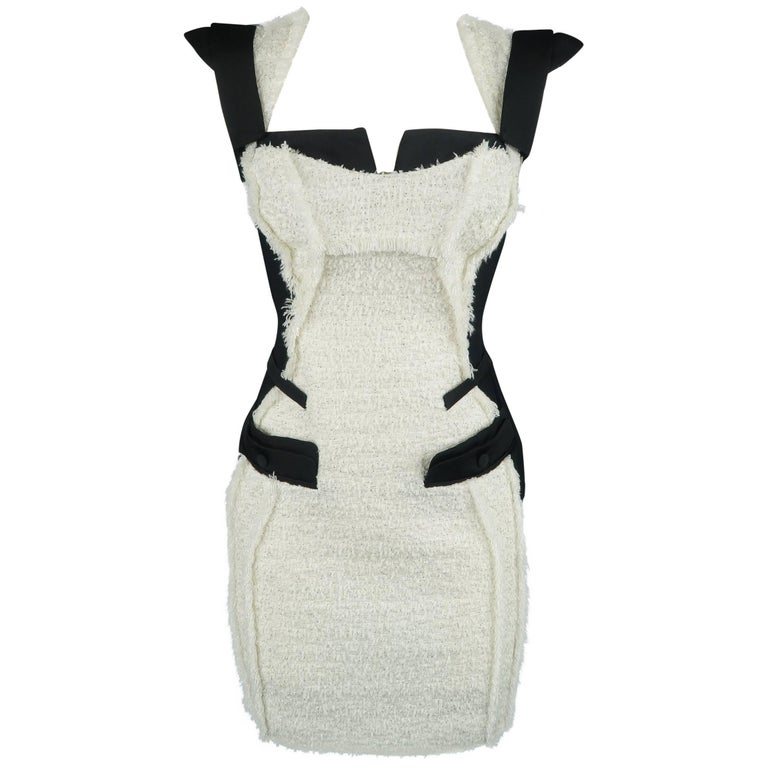 ANTONIO BERARDI Size 6 Black & White Tweed Panel Color Block Dress For Sale