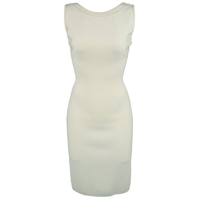 Alaia Dress - Size XS - Cream Ribbed Scoop Neck Bodycon Sleeveless For Sale