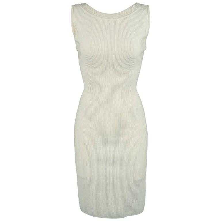 Alaia Cream Ribbed Scoop Neck Bodycon Sleeveless Dress