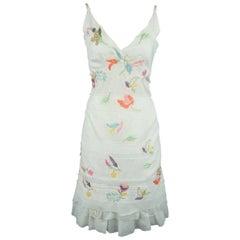 PRADA Size 6 White Beaded Floral Cotton Sun Dress