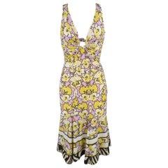 ROBERTO CAVALLI Yellow & Purple Floral Print Snake Hoop Dress