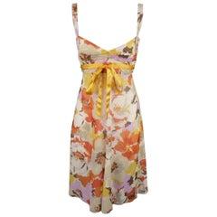 VALENTINO Size M Orange Floral Print Silk Babydoll Dress