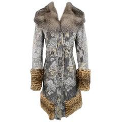 TULEH Size 8 Grey Jacquard Fur Collar Cheetah Trim Lippi Coat
