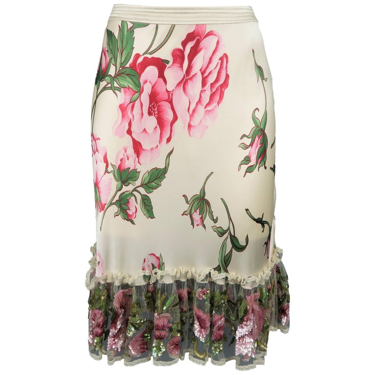 VALENTINO Size 8 Beige & Pink Floral Print Silk Sequin Ruffle Pencil Skirt