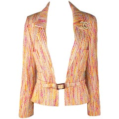 Chanel Lesage Fantasy Multicolor Tweed Belted Jacket Blazer