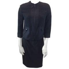Akris Black Wool Two Piece Skirt Suit