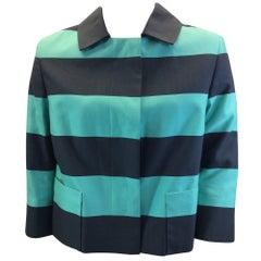 Akris Turquoise Striped Cropped Jacket