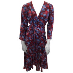 Alexis Red and Blue Floral Wrap Maxi Dress NWT