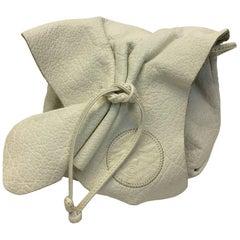 Carlos Falchi Vintage White Leather Flap Crossbody