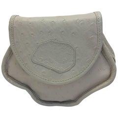 Carlos Falchi Vintage Cream Ostrich Leather Crossbody