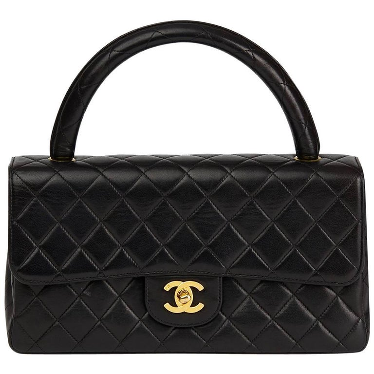 1990s Chanel Black Quilted Lambskin Vintage Medium Classic Kelly Flap