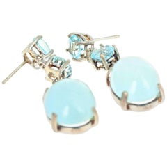 Hadmade Unique Blue Topaz and Aquamarine Sterling Silver Dangle Stud Earrings