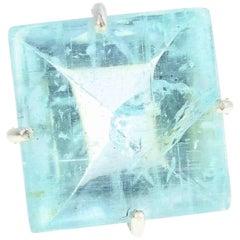 26 Carat Aquamarine Sterling Silver Ring