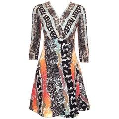 Diane von Furstenberg Classic Wrap Dress Multicolor Print Dress 3/4 Sleeves