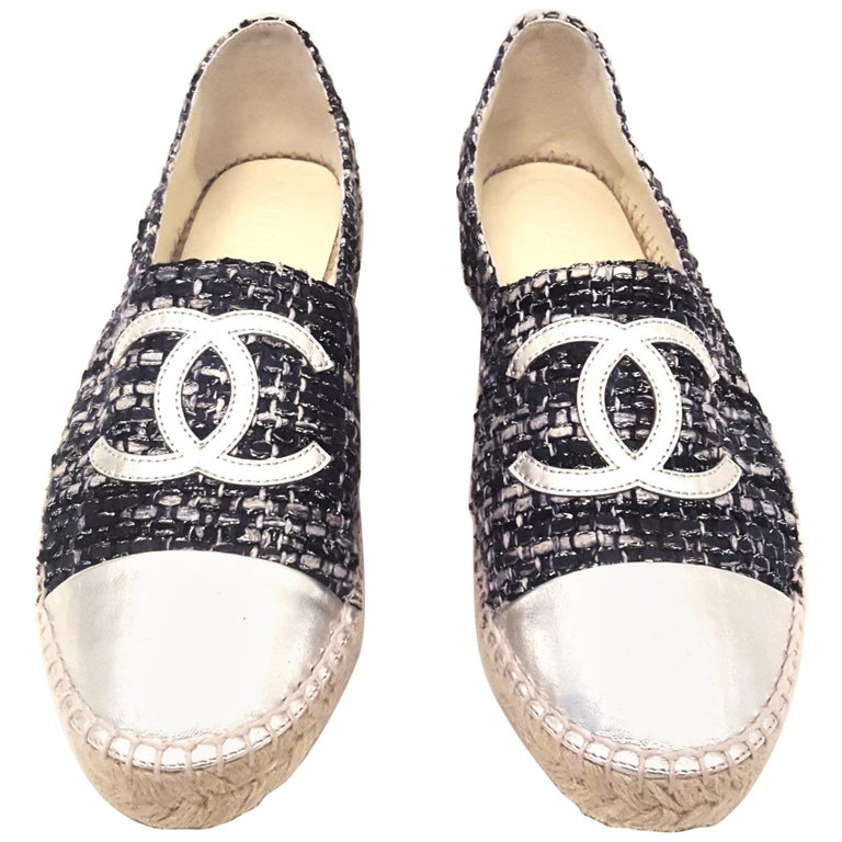 Chanel Navy & Grey Tweed With Silver Cap Toe Espadrilles