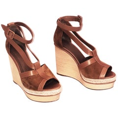 Hermes Tan Suede and Leather Wooden Wedge Ibiza Sandals