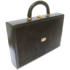 Gucci Luxurious Black Suede & Leather Briefcase circa 1970s