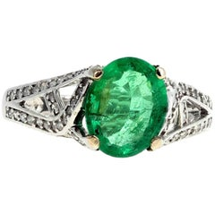 Gemjunky Glittering 3 Carat Colombian Emerald and Diamond White Gold Ring
