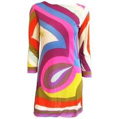 Emilio PUCCI 1960s Signature Print Silk Dress Vintage