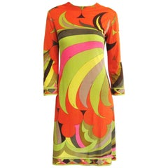 EMILIO PUCCI 1960s Multicolor Silk Long Sleeve Mod Print Dress XS -Small Vintage