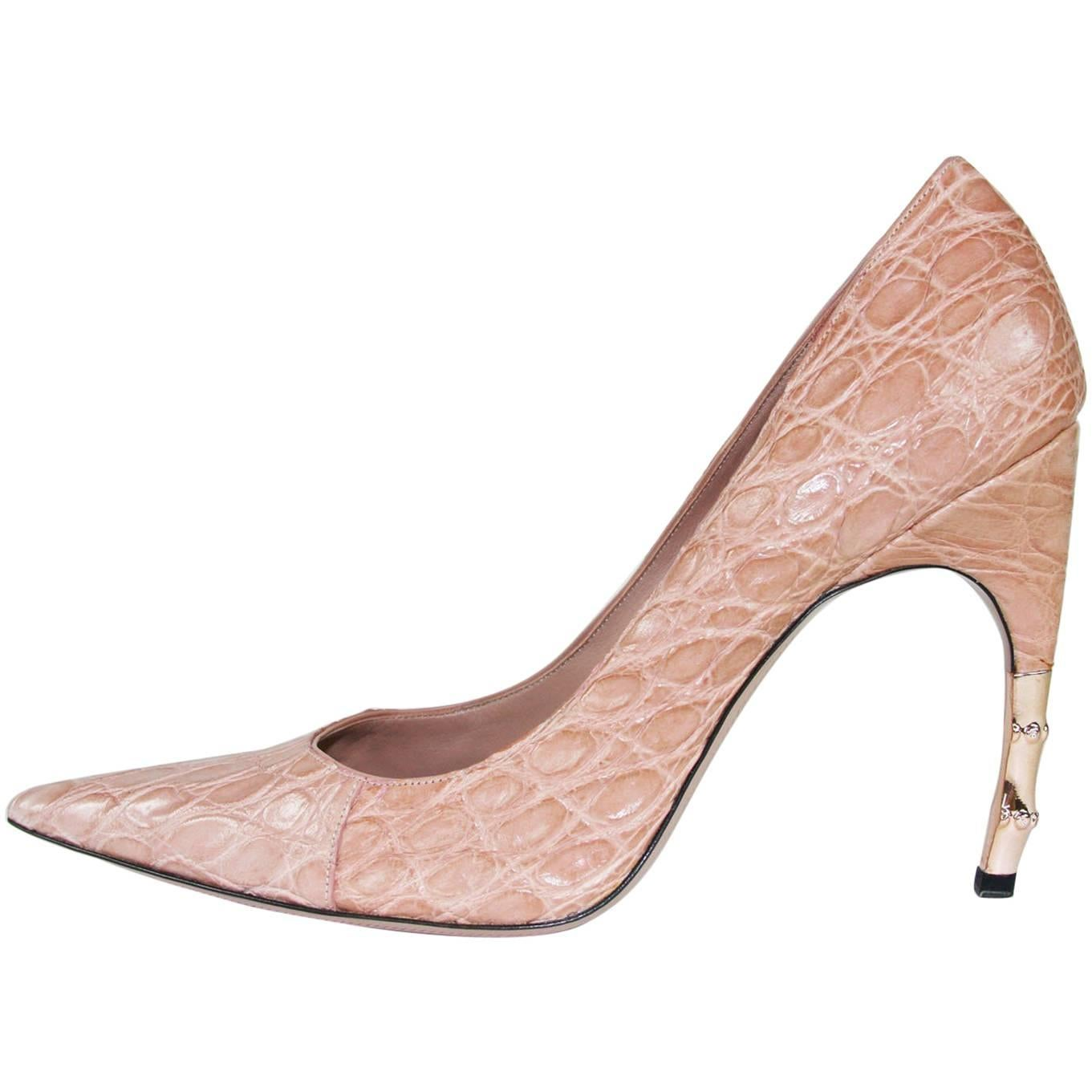 New Tom Ford for Gucci 2004 Collection Crocodile Nude Bamboo Heel Shoes 40 C