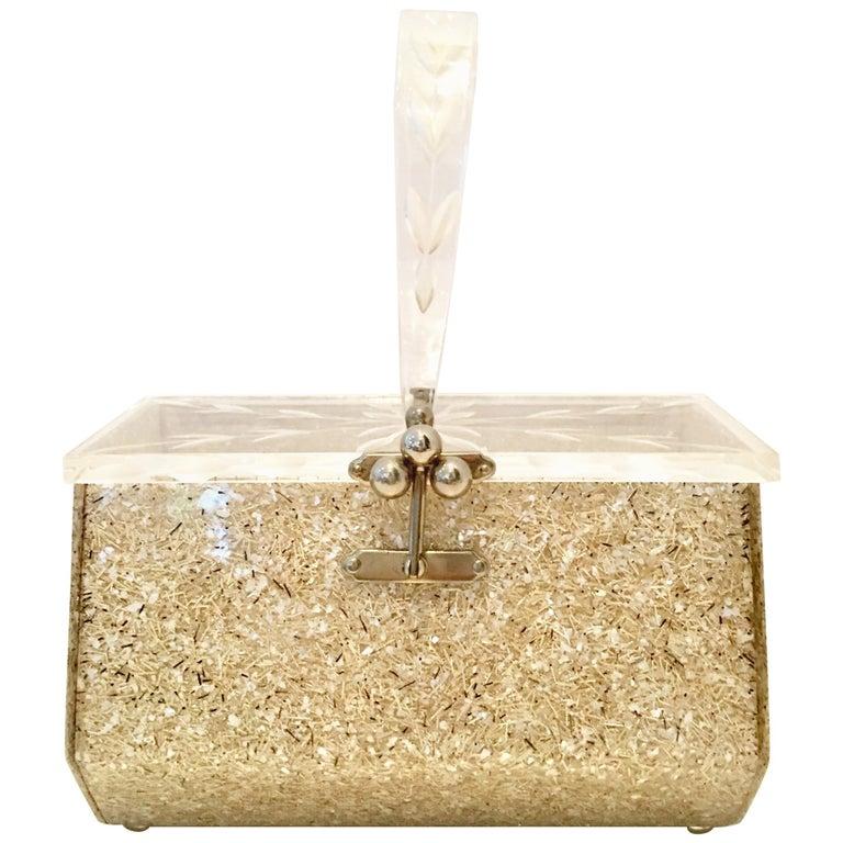 50'S Carved Lucite & Gold Confetti Box Wristlet Style Purse