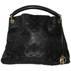 Louis Vuitton Limited Edition Black Python Artsy MM Hobo Handbag
