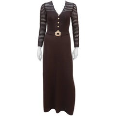 1970's St. John Knits Brown Crochet Dress With Rhinestone & Gold Details
