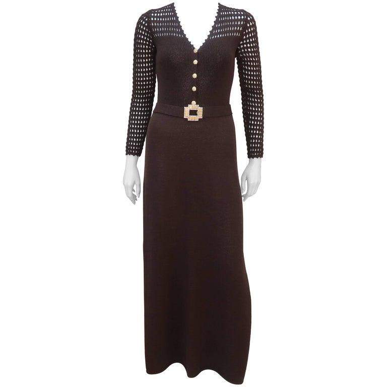46b45980fcf5 1970 s St. John Knits Brown Crochet Dress With Rhinestone   Gold Details ...