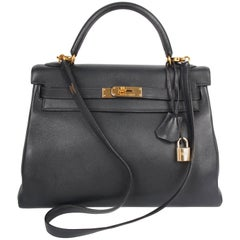 Hermès Kelly Bag 32 Swift Leather - dark blue