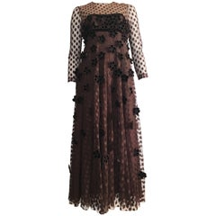 Brown Maxi Empire 1960s Layered Dress with Velvet Flowers Size 8 / 10.