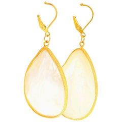 White Pearl Shell Lever Back Earrings