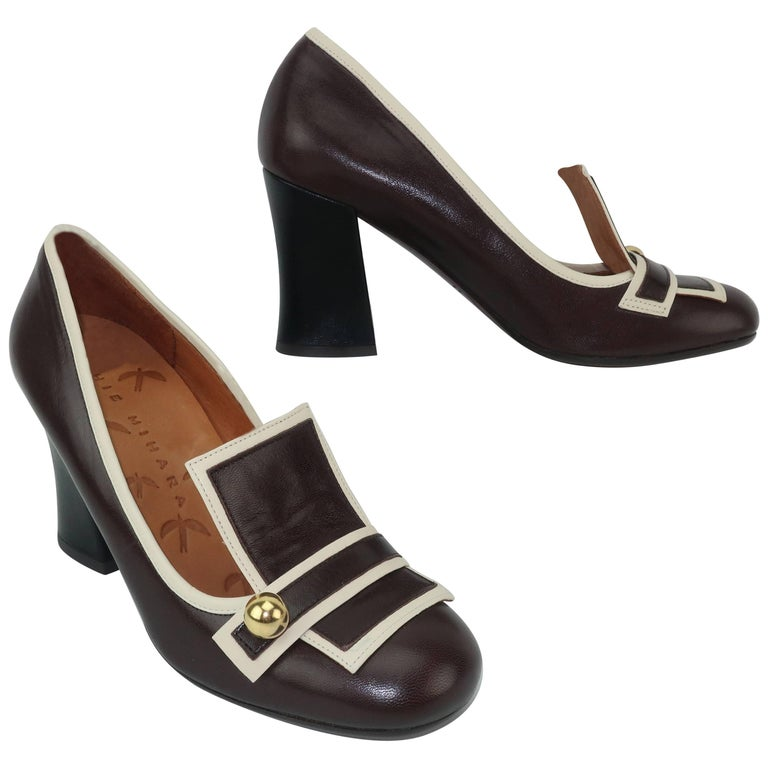 Chie Mihara Brown Leather Two Tone Heeled Loafer Shoes Sz 38 For Sale