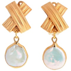 Unique Handmade Clip-on Vermeil (gold plated) Pearl Earrings