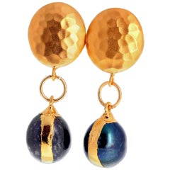 Unique Handmade Abalone Fireball Pearl Clip-on Vermeil (gold plated) Earrings
