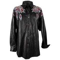 Gucci Top S/S 2018 Black Leather Bugle Bead Diamante Sequin Western 40 / 6 Rare