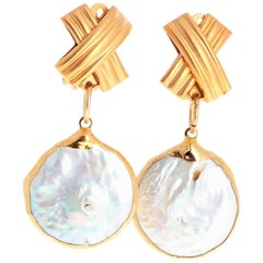 Pearl Vermeil Clip-on Earrings