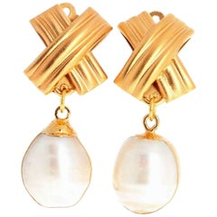 Unique Handmade Clip-on Pearl Vermeil (Gold Plated) Earrings