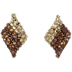1980's Brown Pave Crystal Clip On Earrings