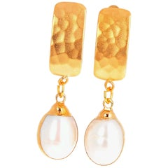 Unique Handmade Clip-on Gold Plated (Vermeil) Pearl Earrings
