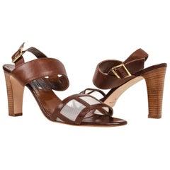 Manolo Blahnik Shoe Cognac Bold Strap Open Toe Slingback 40.5 / 10.5 New