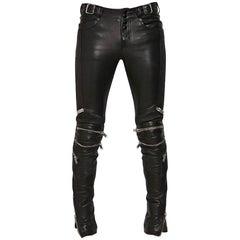 Saint Laurent Unisex Black Leather Zipper Motorcycle Jeans Pants - 38