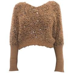 Brunello Cucinelli Caramel Brown Sequin Textured Crop Sweater - M