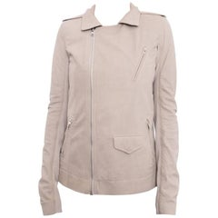 Rick Owens Light Pearl Beige Leather Biker Jacket - 6