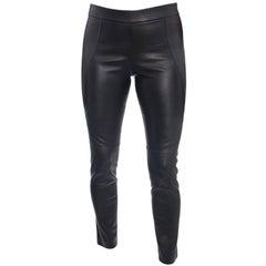 Brunello Cucinelli Black Stretch Lambskin Leggings - 6