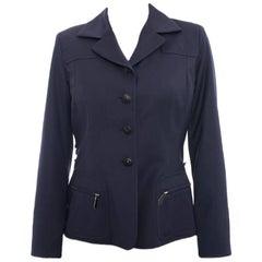 Hermes Vintage 1990's Navy Wool Blazer Jacket - S
