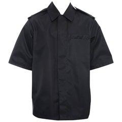 Prada Fall 2015 Black Nylon Short Sleeve Runway Jacket - M