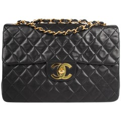 Chanel 2.55 Timeless Maxi Single Flap Bag - black leather
