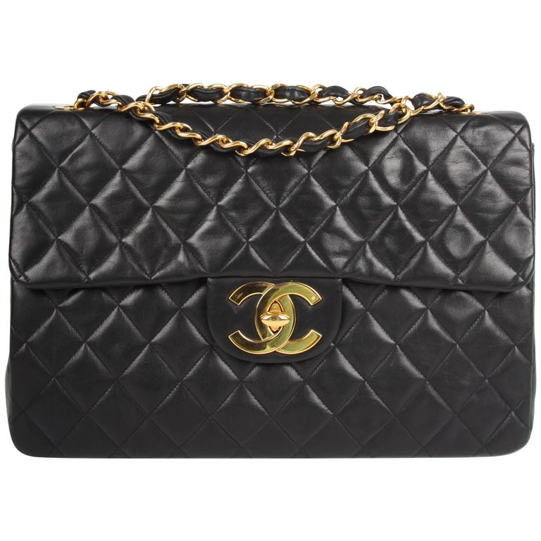 d021829bd9a58a Chanel 2.55 Timeless Maxi Single Flap Bag - black leather For Sale ...